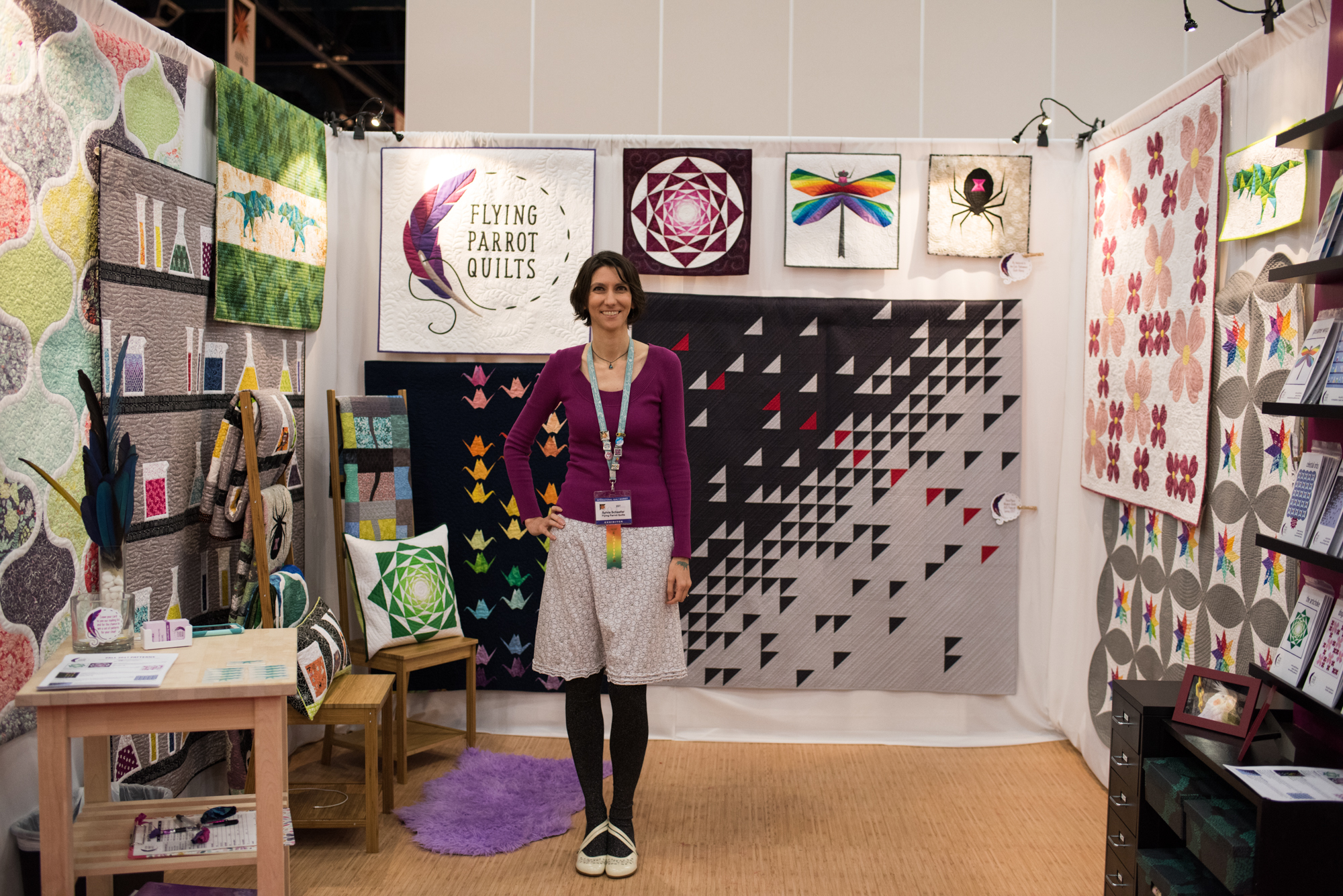 Sylvia Schaefer in her Quilt Market Booth