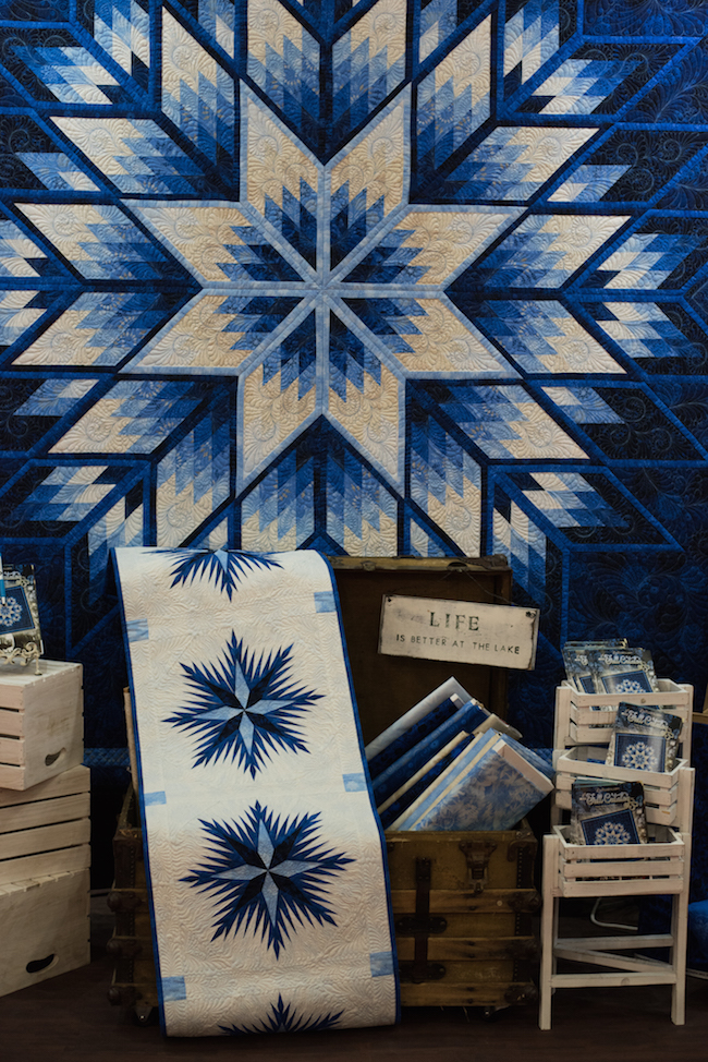 Prismatic Star Quilt in Blue