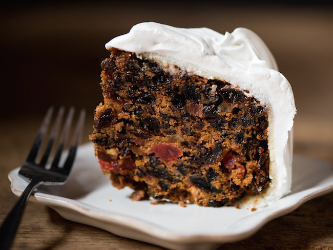 Slice of Traditional British Christmas Cake