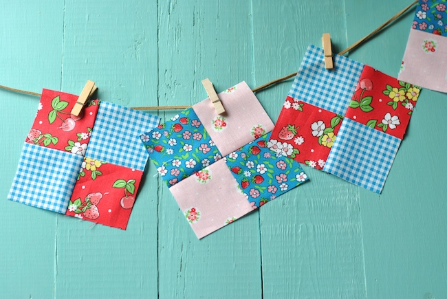 Four-Patch Quilt Blocks Hanging on Clothes line