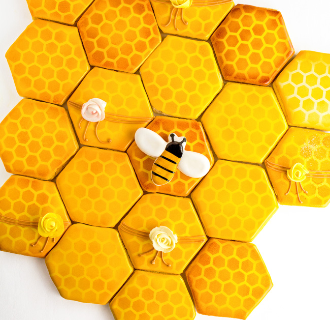 Airbrushed Honeycomb Cookies And Bee