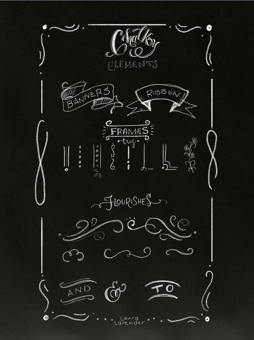Decorative elements for chalk designs