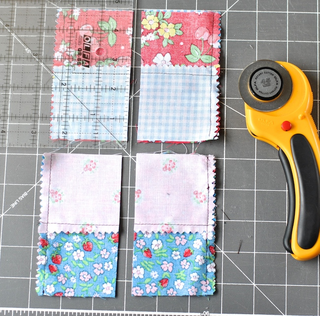 Cutting Fabric into Four-Patch Quilt Block