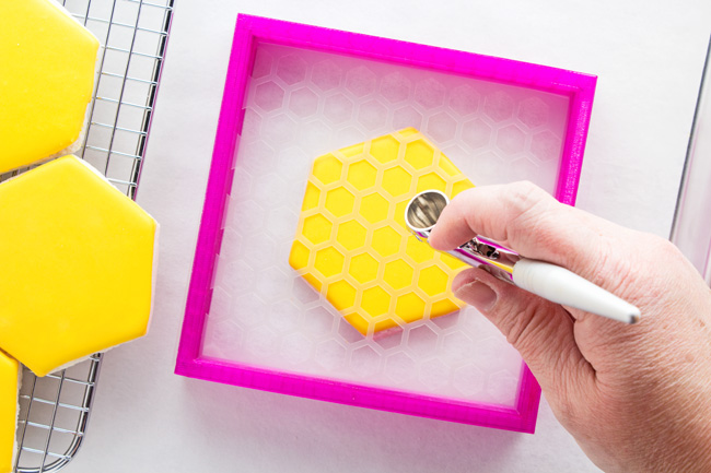 Airbrushed Honeycomb Cookies