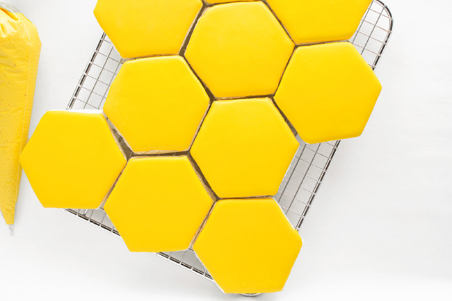 Yellow royal icing hexagon sugar cookies