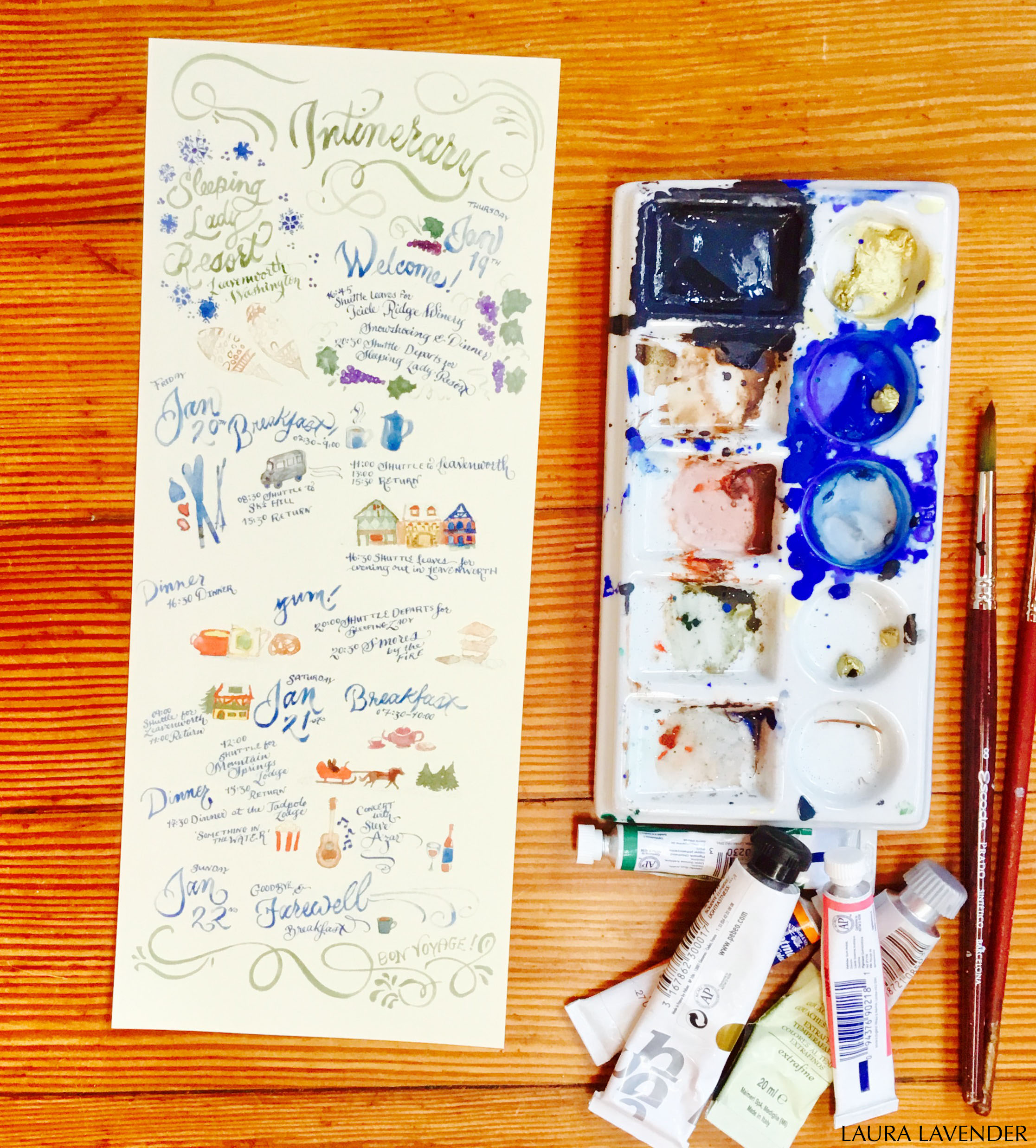 WATERCOLOUR CALLIGRAPHY ILLUSTRATION ITINERARY