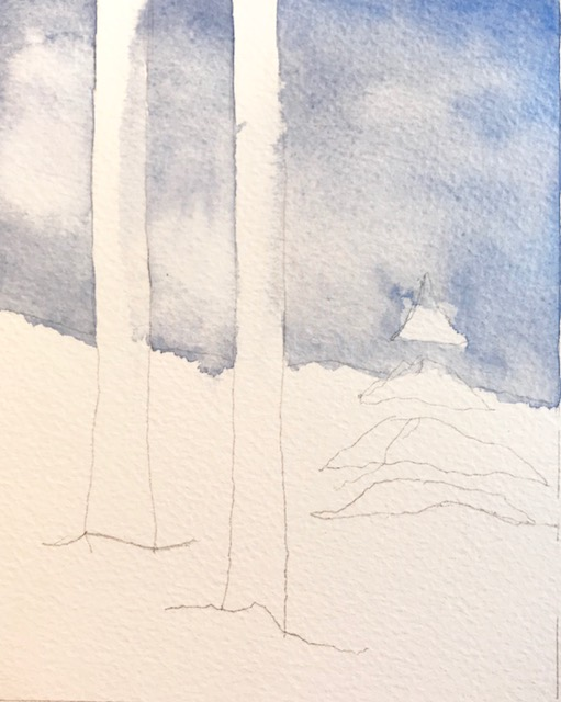 Adding a light wash to suggest the sky and clouds.