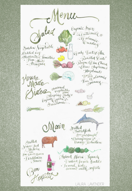 ILLUSTRATED MENU WATERCOLOR LAURA LAVENDER