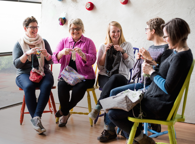 Group of Knitters Working on Projects