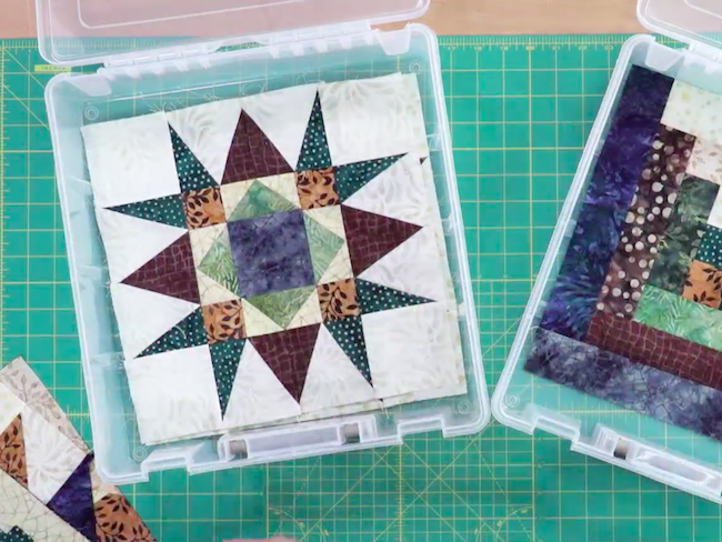 Quilt Blocks in Storage Bins
