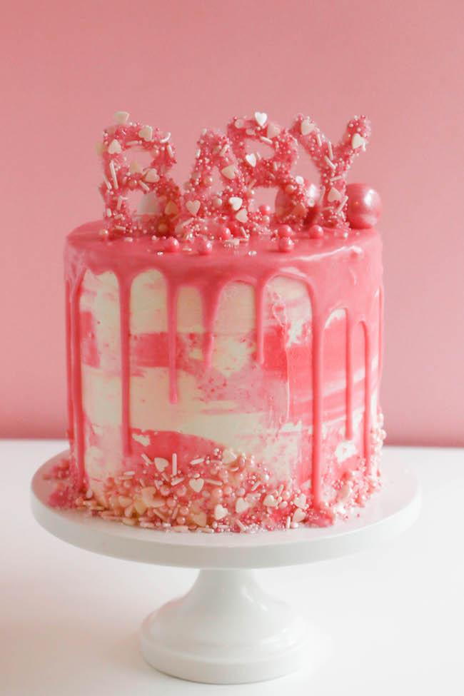 Baby Shower Drip Cake | Erin Gardner | Craftsy