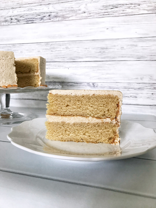 slice of butterscotch cake on plate