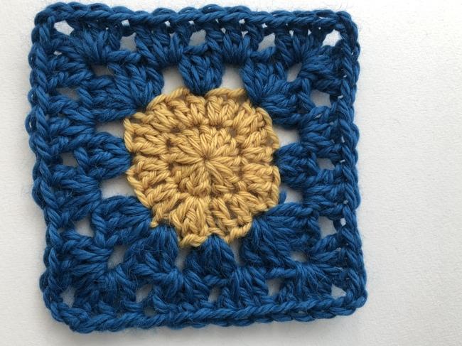 medium circle inside crochet granny square