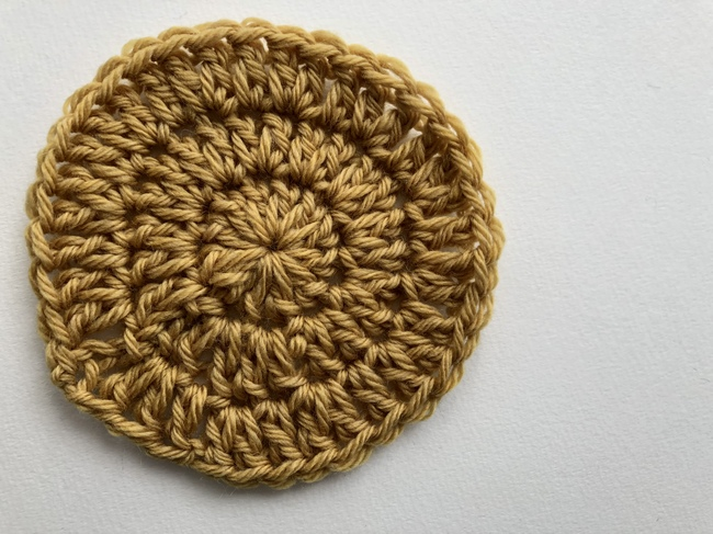 three rounds of double crochet circle