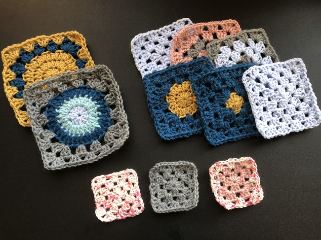 different sized crochet granny squares