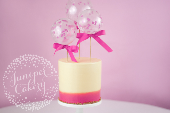 DIY mini balloon topper themed cake