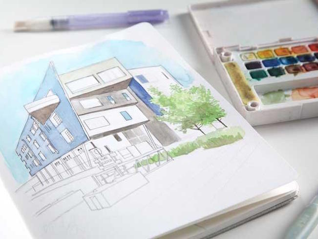 Watercolor Building in perspective