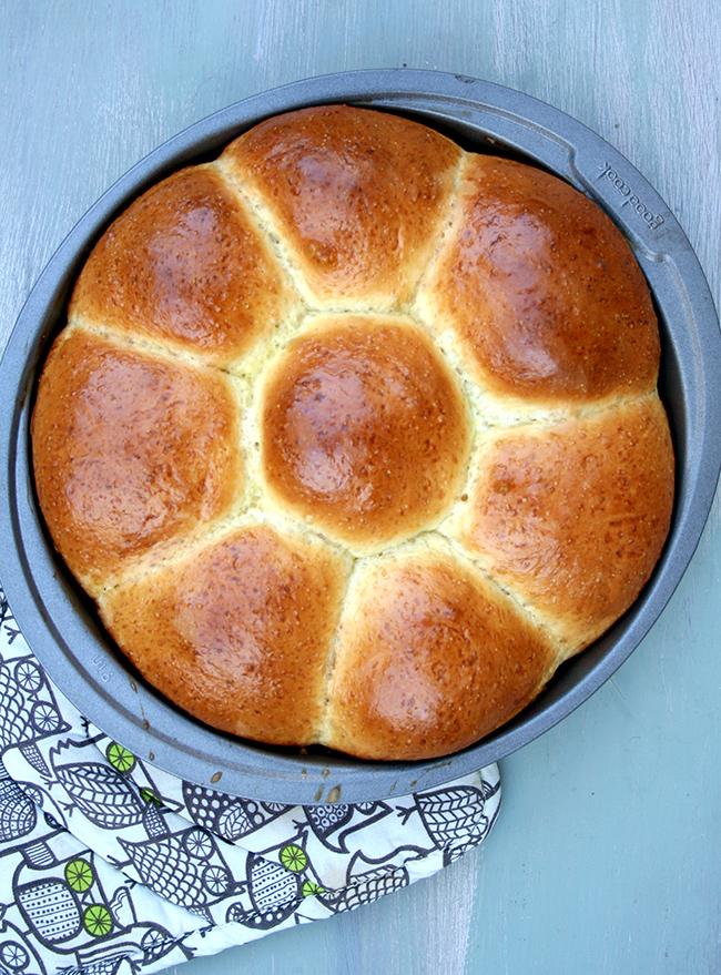 Baked milk bread rolls in pan