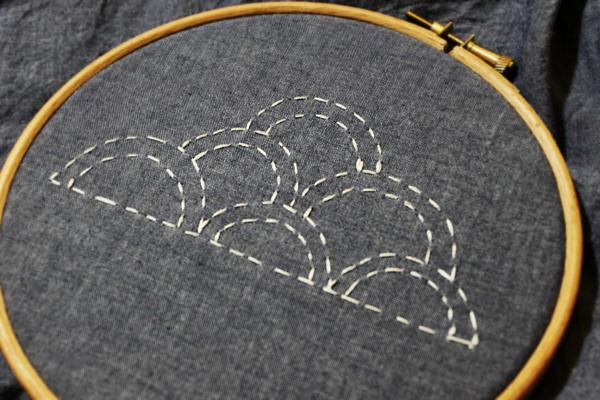 Sashiko Stitchin on Gray Fabric