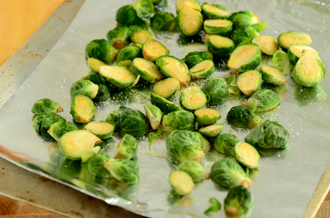 Brussels sprouts on pan