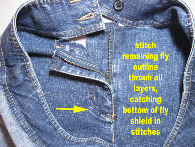 zip up and complete topstitching with text