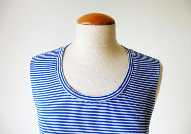 stripe t-shirt neckline