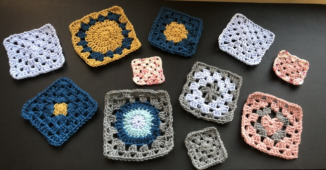 variety of crochet granny squares