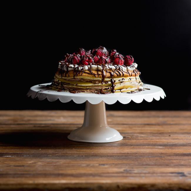 Crepe Cake on White Cake Stand