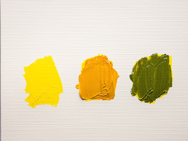 Yellow Paint on Its Own Mixed with Brown and Mixed with Black