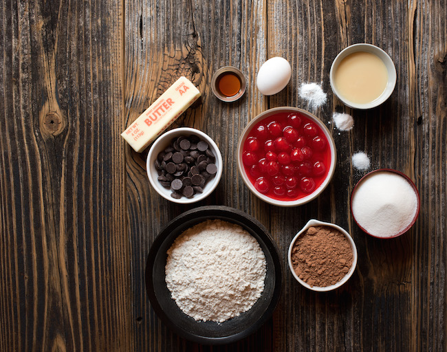 Ingredients for Chocolate cherry cookies
