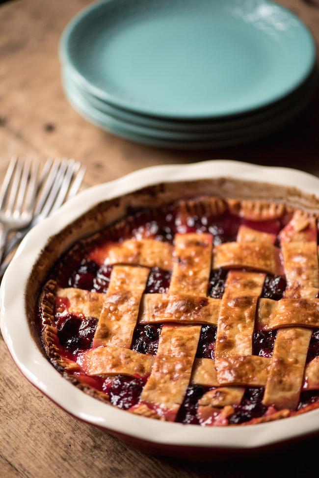 Cranberry Raisin pie with lattice crust