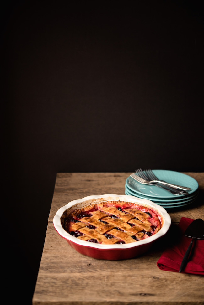 Cranberry Raisin Pie in Red Pie Tin