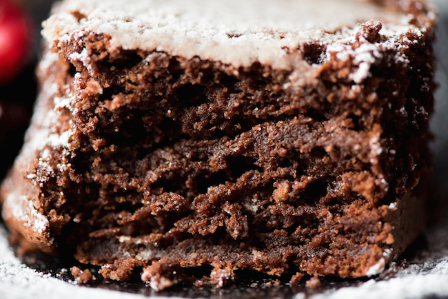 Close Up of Fallen Chocolate Cake