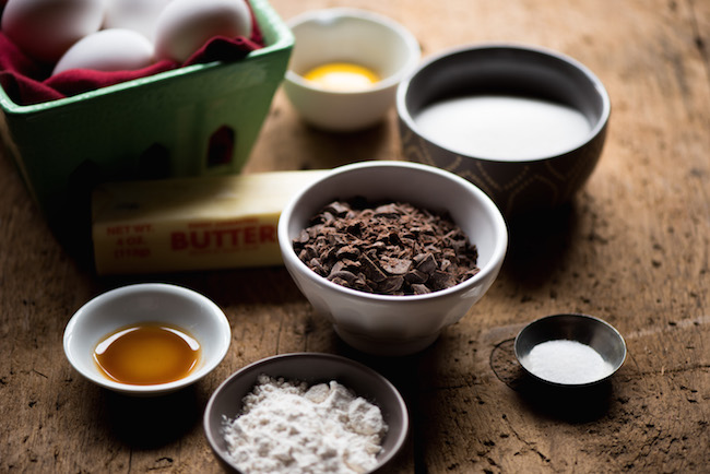 Ingredients for baking chocolate cake