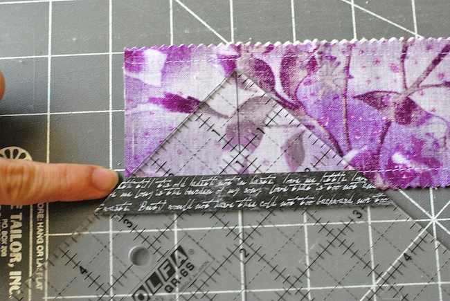 Taped Quilting Ruler Aligned on Seam