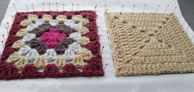 How to block granny squares after spritzing