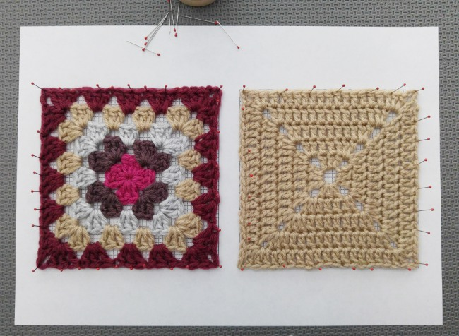 How to block granny squares squares pin sides next