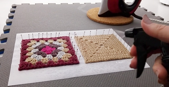 How to block granny squares squares spritzing