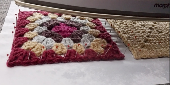 How to block granny squares squares steaming