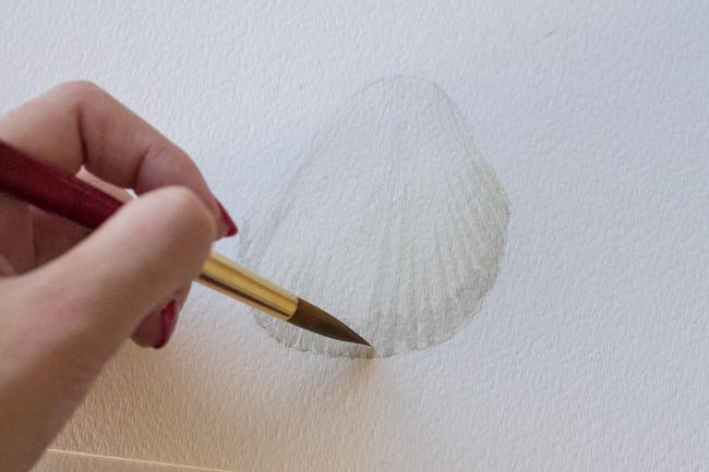 Painting watercolor shadows