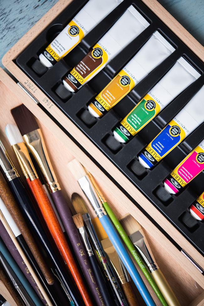 Acrylic Paint Tubes and Brushes