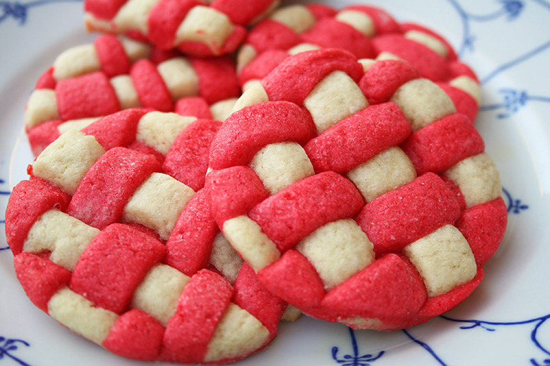 Basket weave sugar cookies on plate