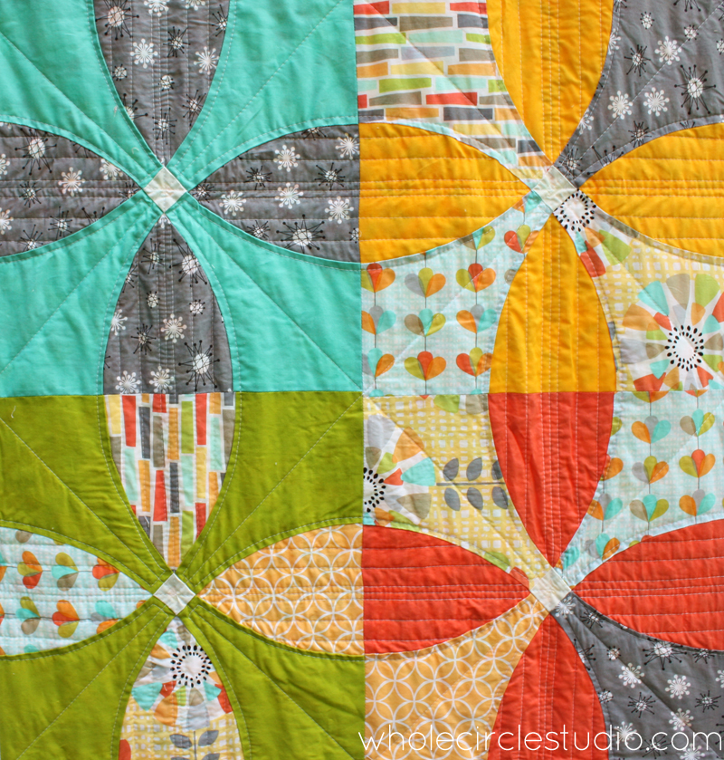 Detail of Picnic Petals quilt designed by Sheri Cifaldi-Morrill. Pattern available at shop.wholecirclestudio.com
