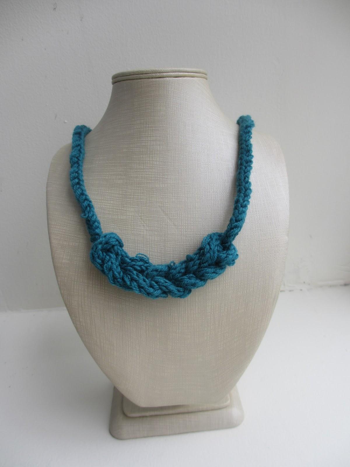 Crochet chain i-cord necklace