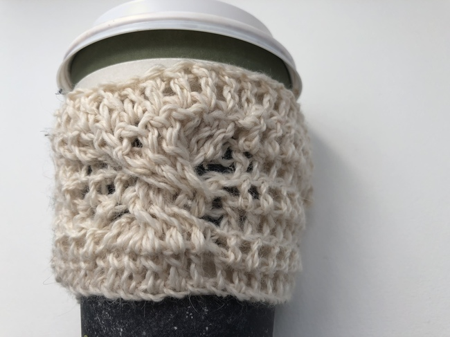crochet cup cozy on coffee cup