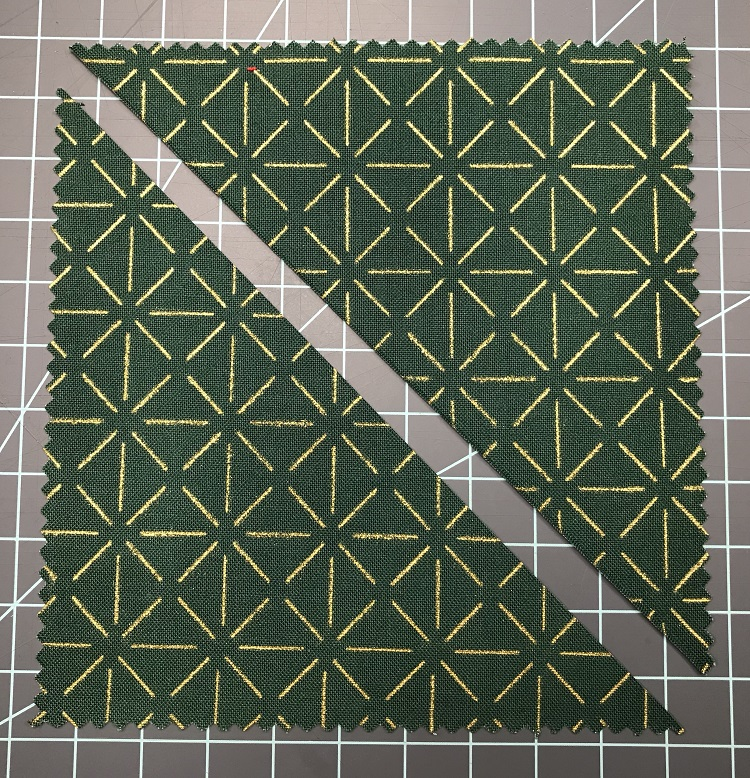cut charm square in half diagonally
