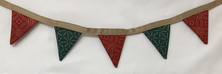 Holiday Bunting made with boundless fabric