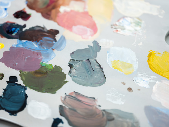 Mixing Acrylic Paint on Palette