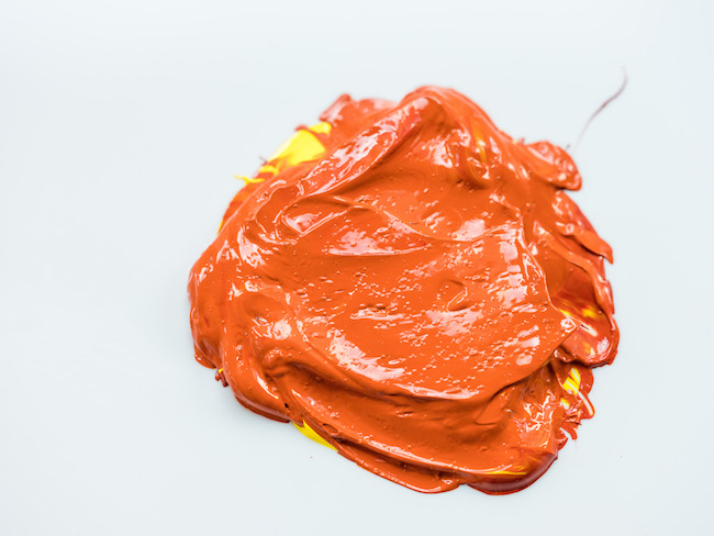 Orange Acrylic Paint Made with YEllow and Red