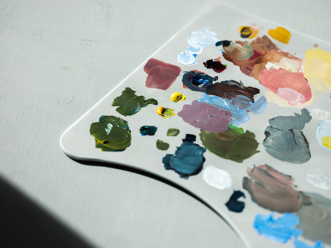 Palette Set Up With Paints